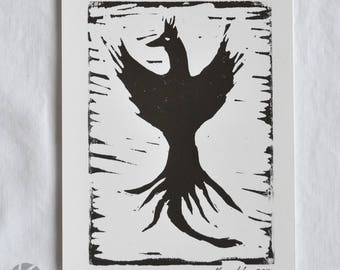 Black or rainbow Phoenix linocut hand printed artwork 5 x 7 - rebirth mythology bird