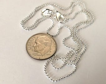 3 - Silver plated 16 inch 1 MM Ball Chains, lobster claw clasp - FAST SHIPPING