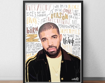 Drake quote print / poster hand drawn type / typography