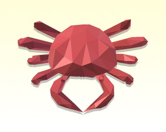 DIY 3D Papercraft Crab - PDF, Printable Model, Template
