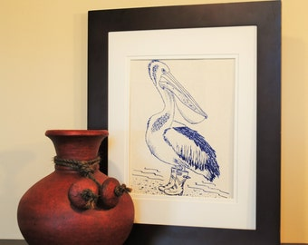 Nautical Kitchen Wall Decor - Pelican Wall Art - Nautical Prints for Nursery -Pelican Prints -Blue Prints -House Gift -Wedding Registry Idea