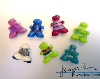 CUSTOM GLEEPLES! Wearable Meeple /Player Marker by Jenefer Ham Pawns Board Game Glass Sculpture