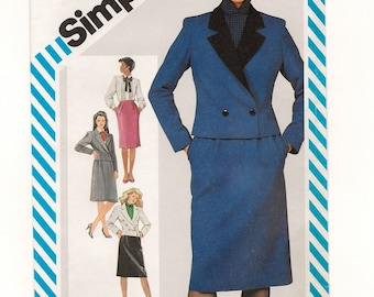"""A 3-Piece Suit Pattern for Women: Slim Skirt, Long Sleeve Blouse & Short Double-Breasted Jacket - Uncut - Size 12 Bust 34"""" • Simplicity 6165"""