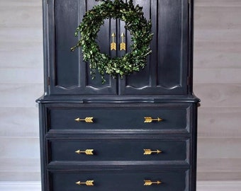 Solid Wood Refinished Graphite Clothing Armoire With Drawers And Gold Arrow Handles