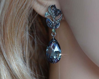 Black Diamond & Swarovski Silver Night Dark Grey Chandelier Crystal Rhinestone Dangle Earrings (Sparkle-2854)