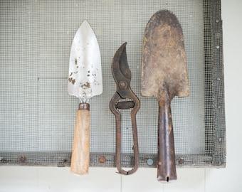 rustic antique garden tool set