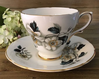 Vintage Royal Kendall Cup and Saucer Fine Bone China Teacup Floral White Flowers Gold Trim Gift