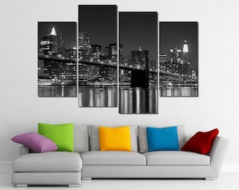 Framed Hugh 4 Panel Canvas Art New York NY Manhattan Brooklyn Bridge Giclee Canvas Print - Ready to Hang