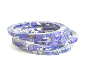 Stacking Skinny Bangle with Purple Larkspur.  Stacking Bracelet Set.  Skinny Resin Stacking Bracelets.