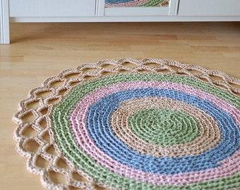 Round crochet doily rug Linen Big - Oversized doily rug beige green blue pink -  Round doily carpet rug
