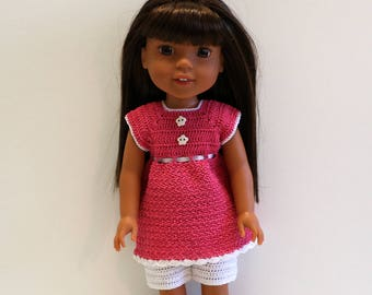 Instant Download - PDF Crochet Pattern 3 - Doll clothes - Top and Shorts. Fits Wellie Wishers and similar dolls.