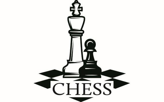 Chess Logo 3 Chessboard Pieces Setup Board Game Strategy