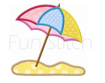 Summer beach umbrella applique machine embroidery design instant download