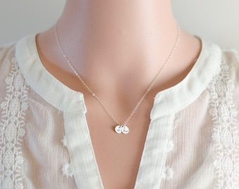 Sterling Silver Two Initials Necklace | Tiny Charm Disc Necklace
