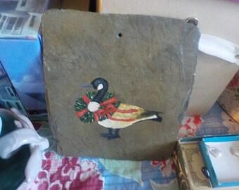 Christmas Goose Slate Plaque