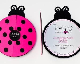 Set of 12 Ladybug Party Invitation Ladybug 1st Birthday
