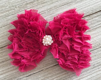 Hair Bow - Shocking Pink Frayed Chiffon Hair Bow with crystal pearl gem
