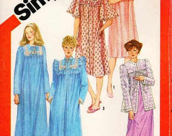 Sz 10/12 Small - 80's Simplicity Pattern 5330 -  Misses' Pullover Nightgown and Robe in Two Lengths and Bed Jacket - Simplicity Patterns