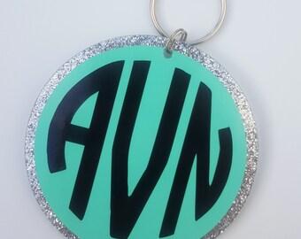 Personalized Monogram Silver Glitter 3 Inch Circle Keychain