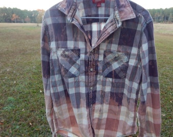 Distressed plaid shirt - bleached dipped splattered recycled- Size M (men's / unisex) (S17)
