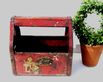 Vintage Toy Rusty Red Metal ShuShine Shoe Shine Box / Bank, Carry, Amsco, Carrier for Tools + Treasures, Plant Holder, Carry all, Decals