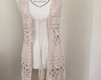 Long Crochet vest S/M