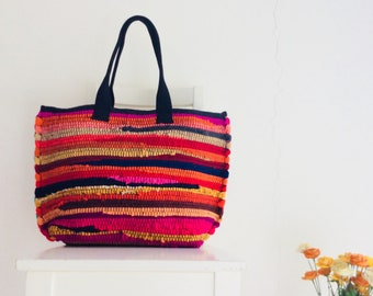XL Rag Rug Multicolor Handbag