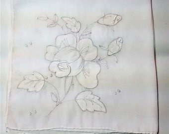 L-102 Vintage Handkerchief with White Roses