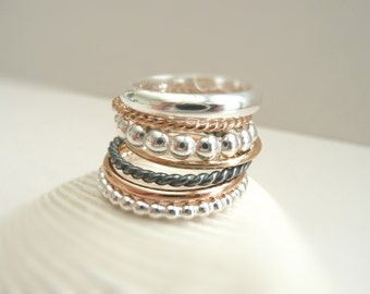 The Stack a La Carte - choose your favorites stacking rings - Sterling Silver 925 - 14 k Gold Filled
