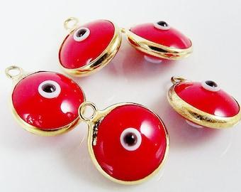 5 Poppy Red Evil Eye Nazar Artisan Glass Bead Charms - Gold Plated Brass Bezel - GCM110