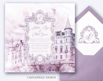 Castlefield Lilac Lavender Purple Watercolor Castle Palace Luxury Wedding Event Invitation Crest Stationery Customized Printable
