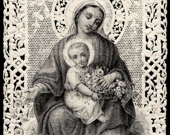 Lace Holy Prayer Card. Mary Madonna and Child.  12 x 18. Digital Paper Download Scrapbooking Supplies. Instant Download. High Resolution