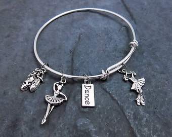 Dance Charm Bracelet - Gift For Dancer - Dance Jewelry - Dance Teacher Gift - Expandable Bangle - Dancing  - Ballet Dancer - Dance Team