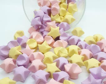 Origami Lucky Stars ~ 102 Count ~ Pastel Pink ~ Pastel Purple ~ Pastel Yellow ~  Wishing Stars ~ Pastel Stars ~ Baby Shower Decor