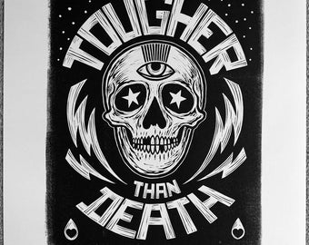 Tougher Than Death - Artists proof. Lino print on Japanese paper.