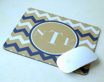Gold Navy Chevron Monogram Mousepad, Gold Mouse Pad, Monogrammed Mouse Pad, Administrative Professionals Day Gift, Assistant Gift