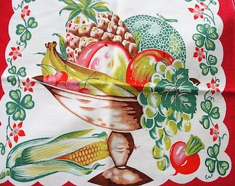 VINTAGE Colorful 1940s Printed Kitchen Towel ,Dish Towel, Tea Towel, Fruit Vegetables Table Runner, Farm House Decor French Country Linens
