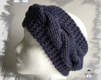Ears headband/Headband/warmer/headband for women or teens wool winter thick warm, and soft blue denim