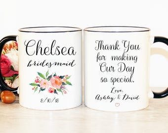 Thank you Bridesmaid gift, Bridesmaid mug, Bridesmaid coffee mug, Bridesmaid gift, Gift for bridesmaid, Custom Bridesmaid gift, Wedding gift