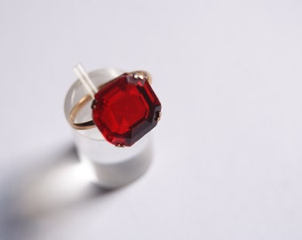 Vintage goldplated ring with a big red ( CZ? ) stone from my private collection