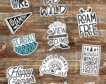 MIX & MATCH choice of 3 adventure stickers // hydro flask stickers - Outdoors stickers - vinyl laptop stickers - inspirational decal