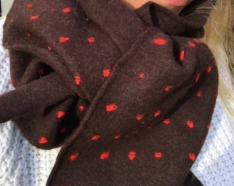 Handcrafted lambswool dotted scarf, chocolate & scarlet, spring buds