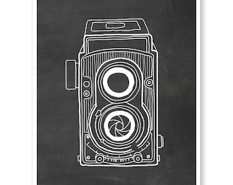 Rolleiflex Camera Print, Camera Illustration, Travel Wanderlust Wall Art, Camera Art Print, Photographer Gift, Chalkboard Camera
