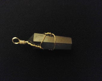 HEMATITE Metallic Graphite Steel Look Silver Wire-Wrapped Crystal Point Pendant