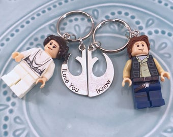 Star Wars Han and Leia Couples Keychain, Pair for husband/wife, girlfriend/boyfriend, I love you/I know, His and Hers, Rebel Symbol Emblem