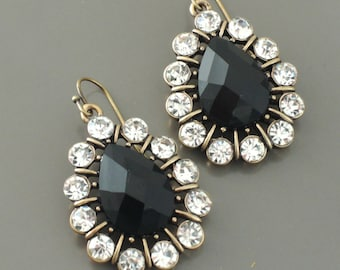 Antique Gold Earrings - Crystal Earrings - Black Earrings - Teardrop Earrings - Bridesmaid Earrings
