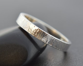 Sterling Silver Ring, Hammered Tree Bark Band, 3mm Band, Thumb Ring, Wedding Band, 925 Sterling Silver