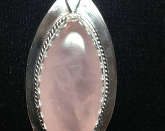 Beautiful Pink Quartz set in bright Sterling