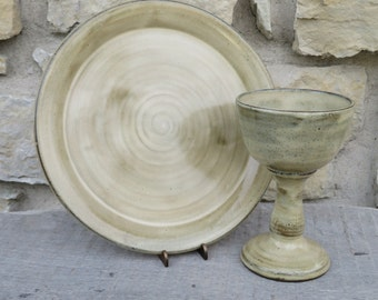 Communion plate and chalice set. Handmade Pottery