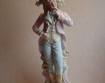 Antique German Bisque Gentleman with Wastecoat Thinking Figurine